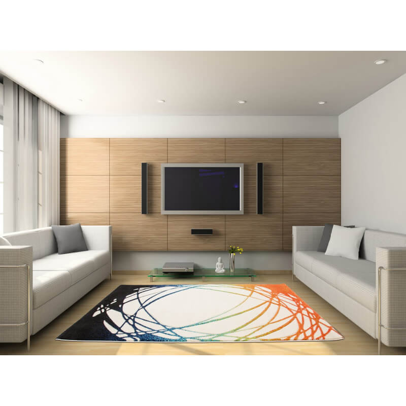 Tapis de salon m ches courtes blanc et orange adventure - Tapis de salon blanc ...