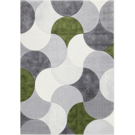 Tapis courbe gris moderne pour salon rectangle Lincoln