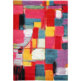Tapis design abstrait à courtes mèches multicolore Clovelly