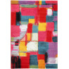 Tapis design abstrait à courtes mèches multicolore Clovelly