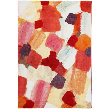 Tapis abstrait à courtes mèches multicolore design Bradford