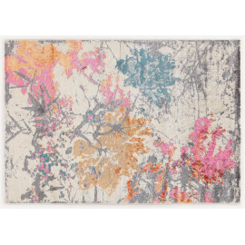 Tapis floral gris design pour salon rectangle Hull