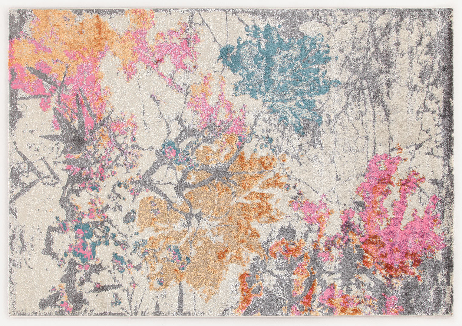 Tapis floral gris design pour salon rectangle Hull