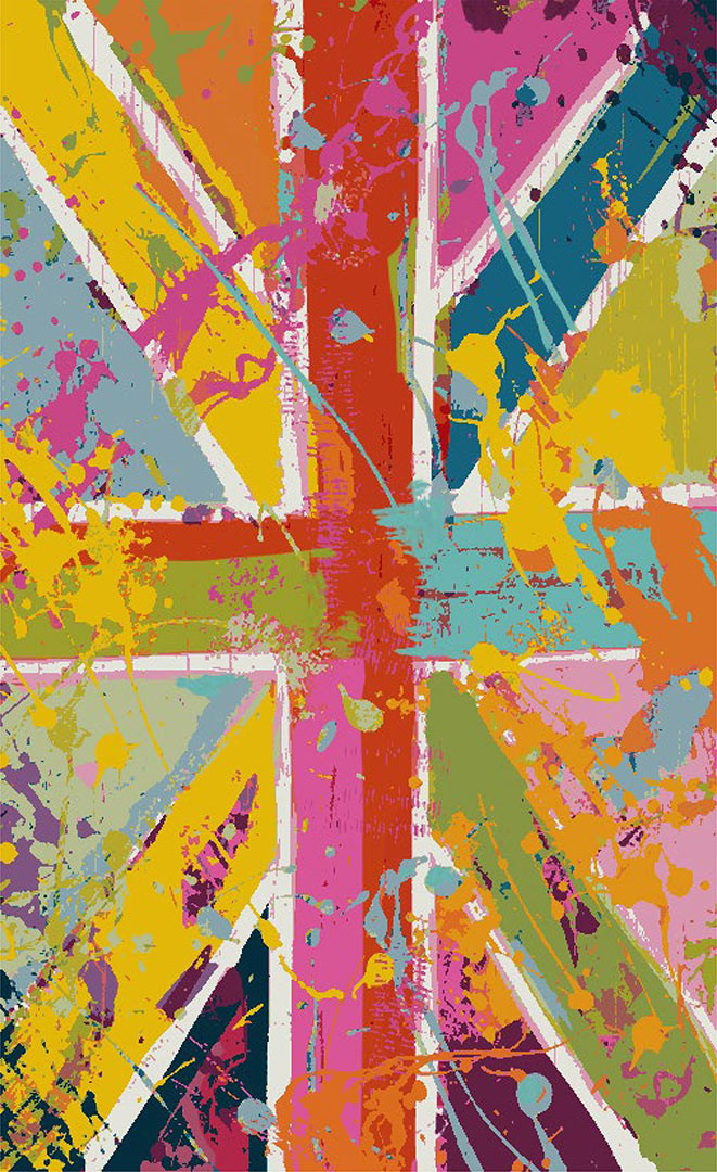 Tapis drapeau anglais multicolore design pour salon Flag