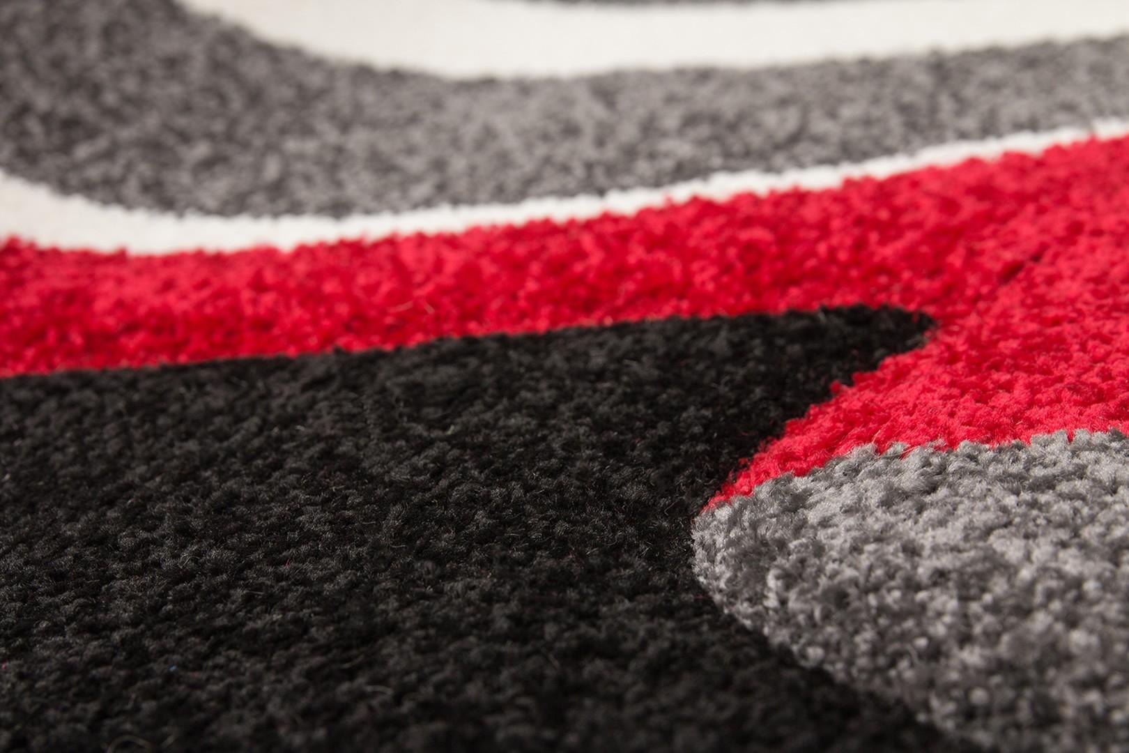 Tapis en polypropylène rectangle noir et rouge Twist
