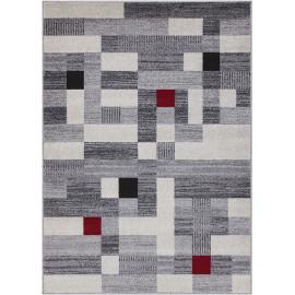 Tapis gris géométrique pour salon design Warwick