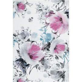 Tapis floral blanc polypropylène rectangle contemporain Wolves