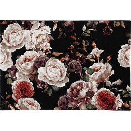 Tapis floral noir polypropylène rectangle contemporain Dublin