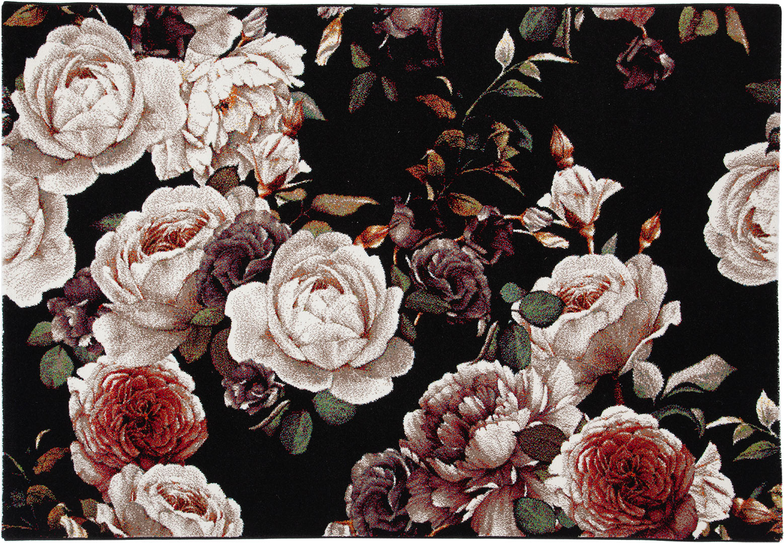 Tapis floral noir polypropylène rectangle contemporain Dublin