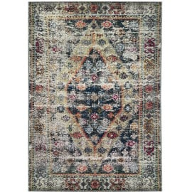 Tapis rayé pour salon multicolore vintage rectangle Kinsale
