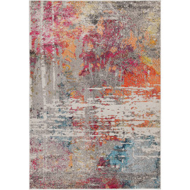 Tapis multicolore vintage pour salon rayé rectangle Midleton