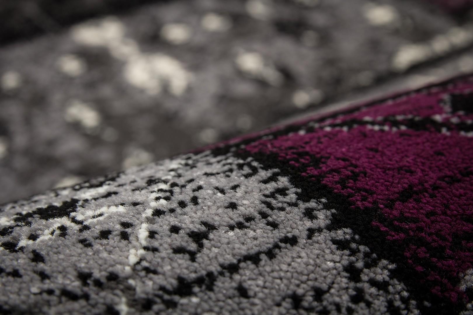 Tapis patchwork en polypropylène argenté Sadkal