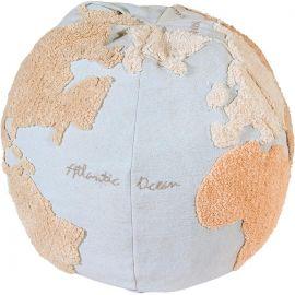 Pouf lavable en machine bleu enfant World Map Lorena Canals
