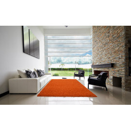 Tapis de chambre uni en polypropylène orange Hollywood