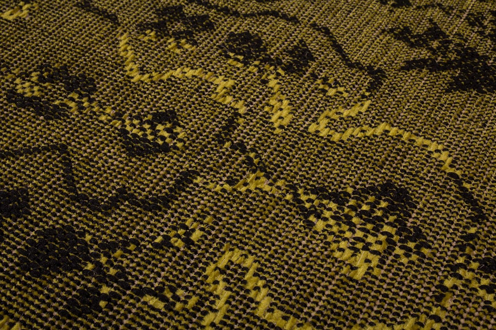 Tapis plat vintage effet patchwork vert Manchester