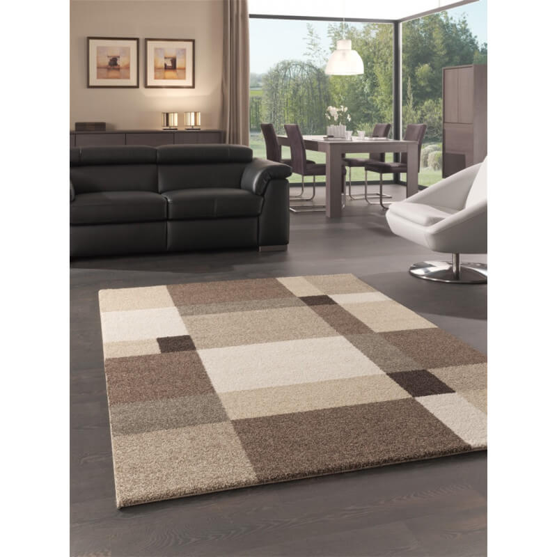 Tapis motifs carr s pour salon beige silicon valley for Tapis decoratif pour salon