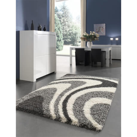 tapis de salle manger shaggy design gris ethan. Black Bedroom Furniture Sets. Home Design Ideas