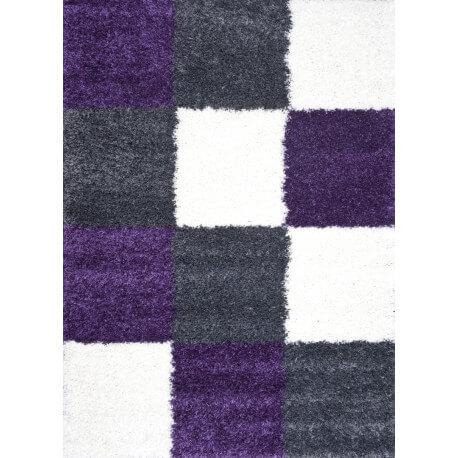 tapis en damier shaggy gris et lila Deauville