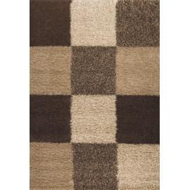 tapis en damier shaggy beige Deauville