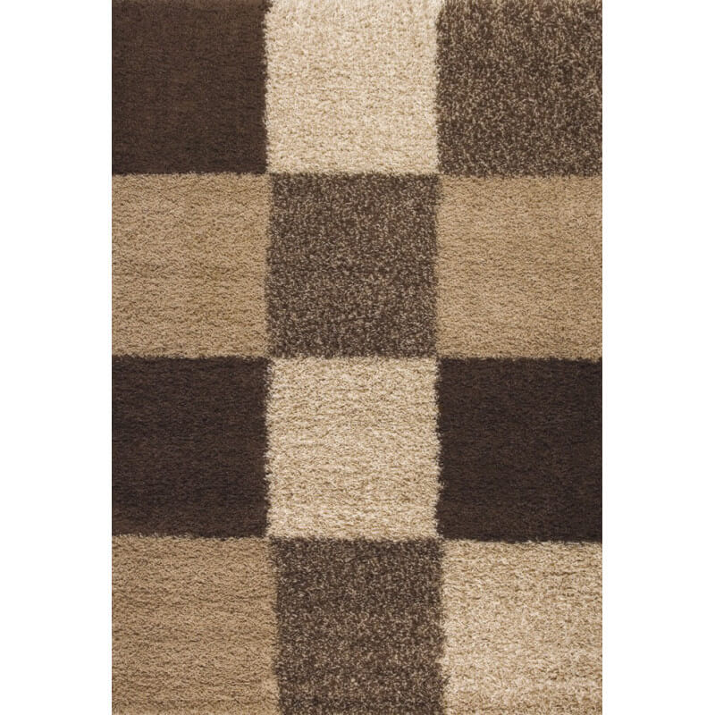 tapis en damier shaggy beige deauville. Black Bedroom Furniture Sets. Home Design Ideas