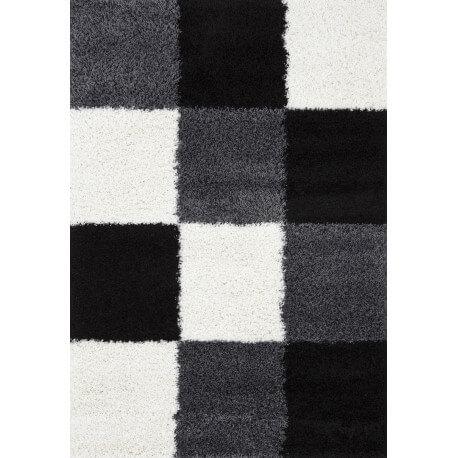 tapis en damier shaggy noir et blanc Deauville