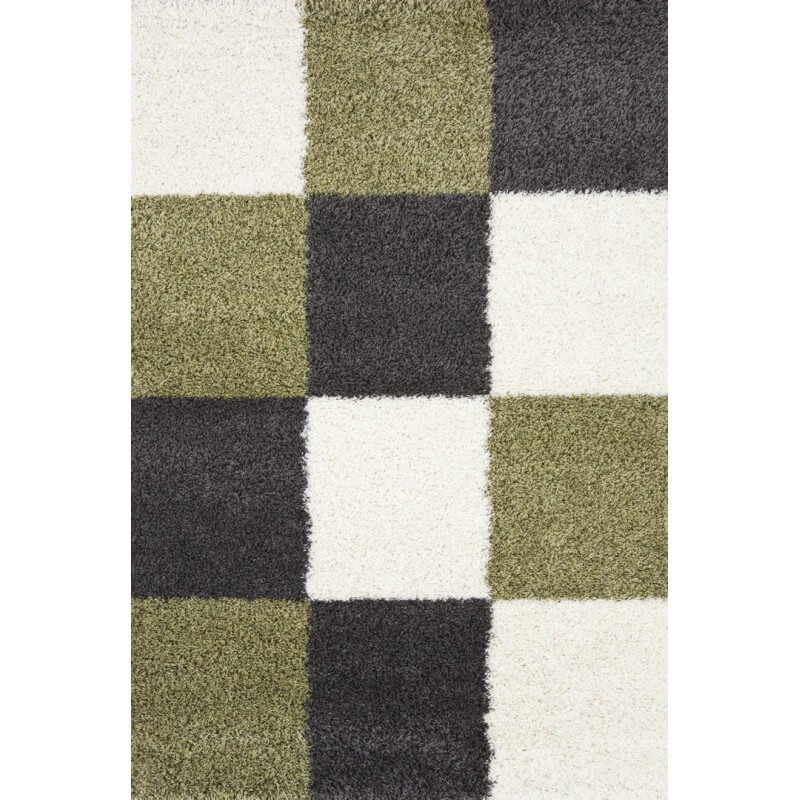 tapis en damier shaggy gris et vert deauville. Black Bedroom Furniture Sets. Home Design Ideas
