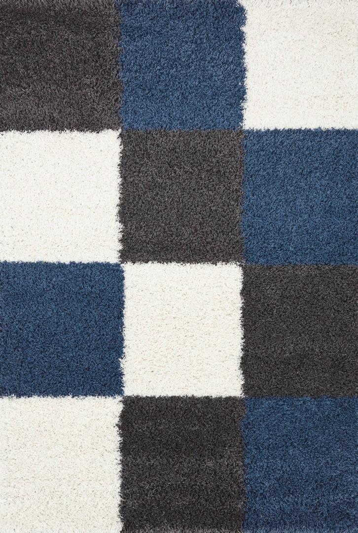 Tapis en damier shaggy gris et bleu Deauville
