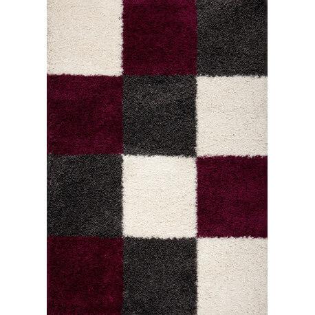 tapis en damier shaggy gris et pourpre Deauville