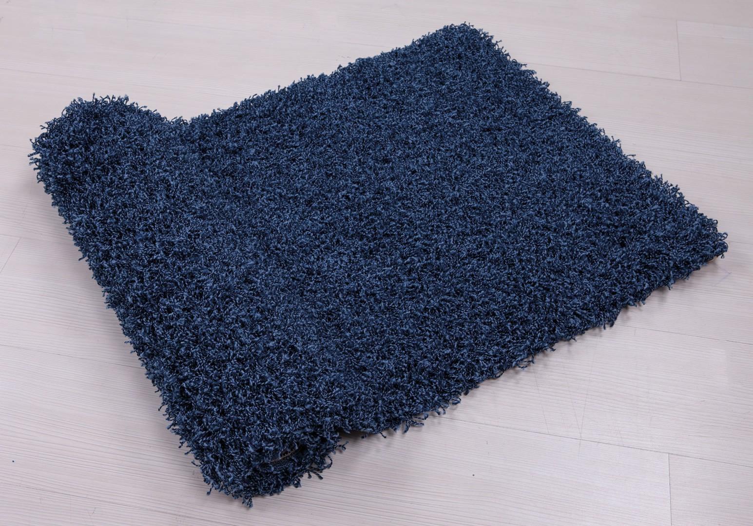 Tapis à longues mèches uni en polypropylène jeans Cravel