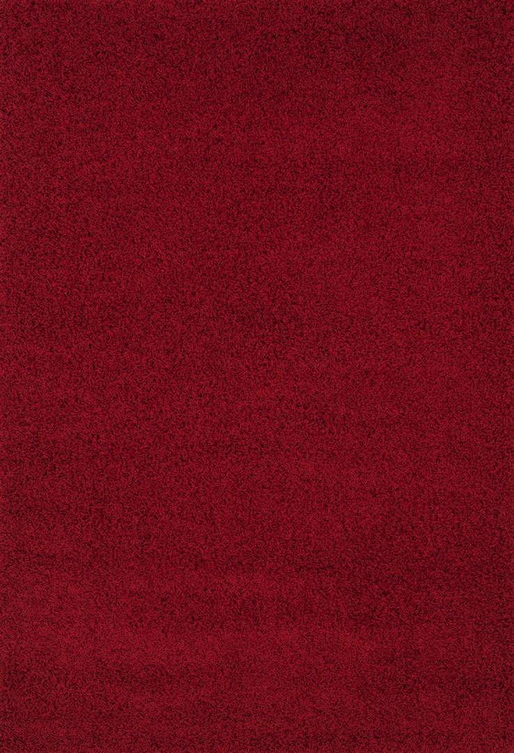 Tapis à longues mèches uni en polypropylène rouge Cravel