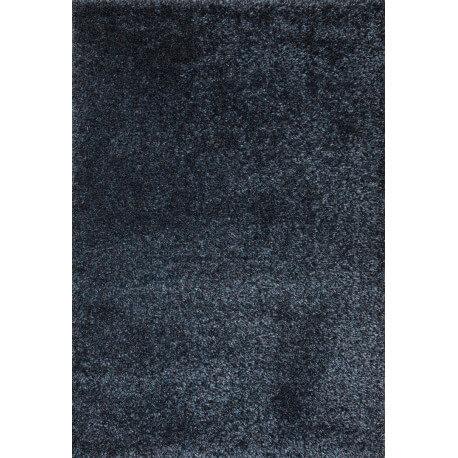 Tapis en polyester shaggy uni turquoise et noir Foster
