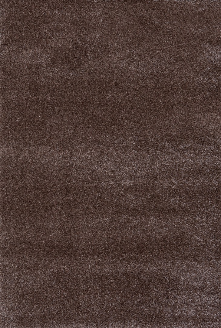 Tapis en polyester shaggy uni marron Foster