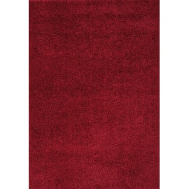 Tapis en polyester shaggy uni rouge Foster