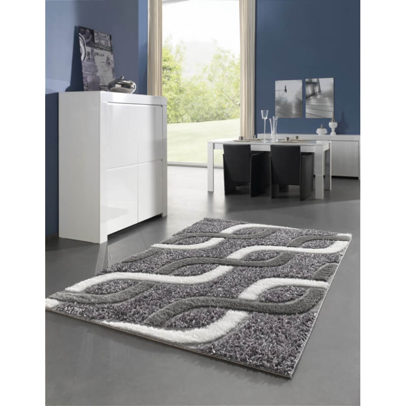 Tapis moderne pour salon shaggy gris kolyos for Grand tapis salon moderne
