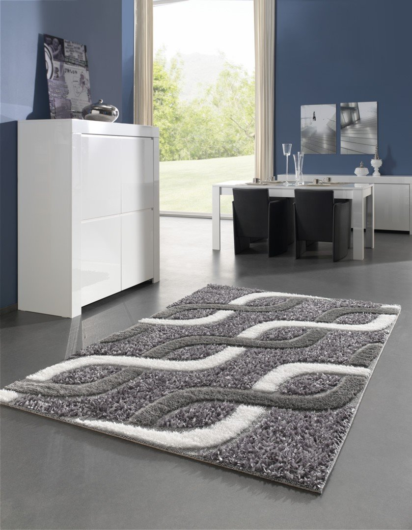 Tapis moderne pour salon shaggy gris kolyos for Tapis pour salon