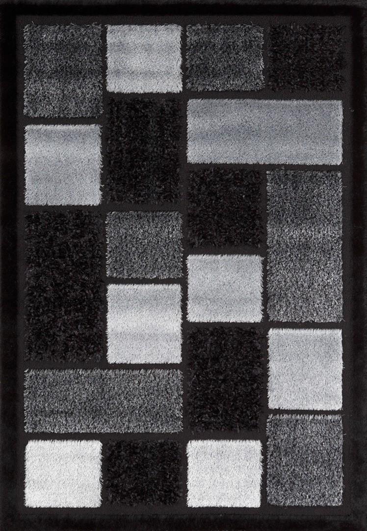 Tapis en polyester shaggy noir Royster