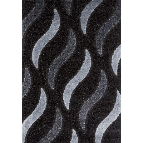 Tapis de salon shaggy moderne noir Vaclave