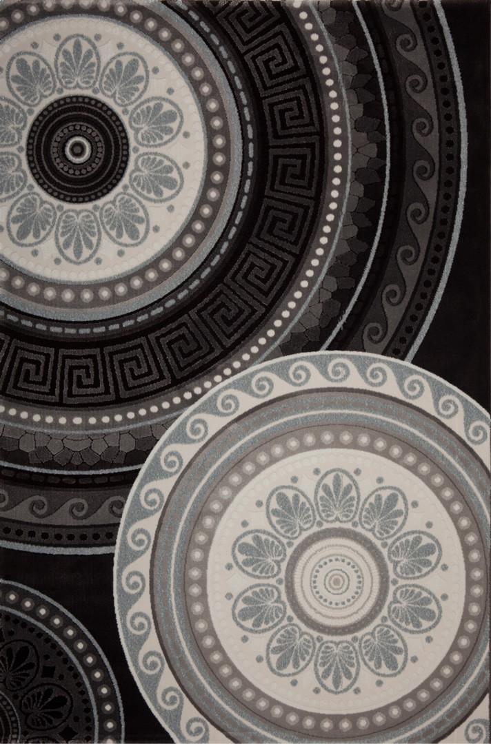 Tapis noir contemporain d'intérieur Firenze
