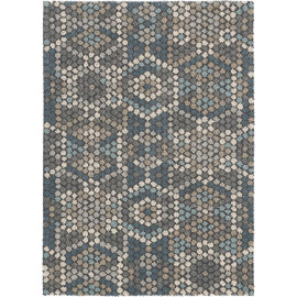 Tapis moderne bleu en laine Dart Mexico