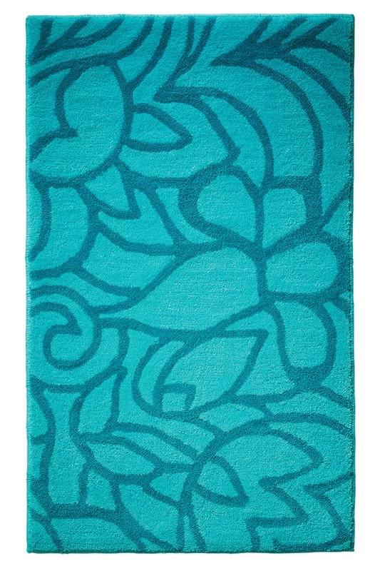 Tapis de salle-de-bain antidérapant turquoise Flower Shower Esprit Home