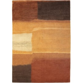 Tapis moderne noué main beige laine rectangle Yara Aquarel