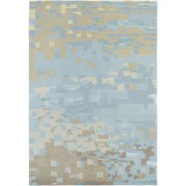 Tapis laine et viscose noué main bleu design Yara Mist