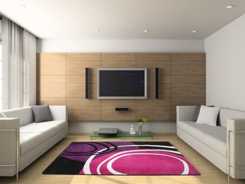 Tapis de salon design rose et pourpre aqua - Tapis design salon ...