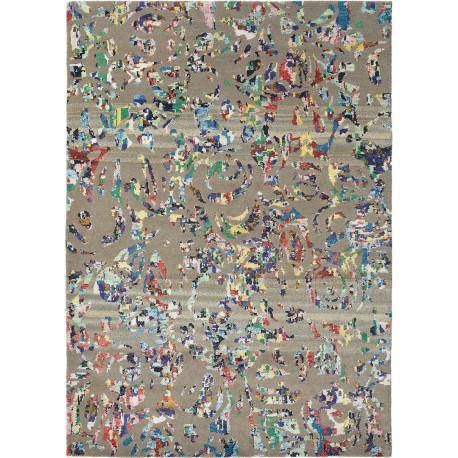 Tapis multicolore vintage noué main laine et viscose Yeti Avalanche