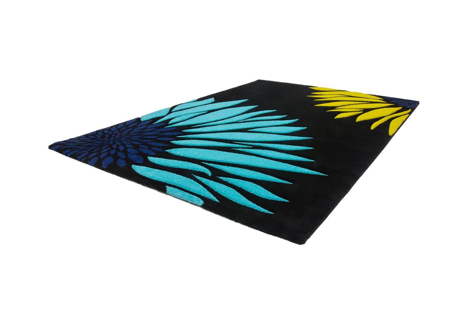 Tapis de chambre moderne noir et bleu Sting