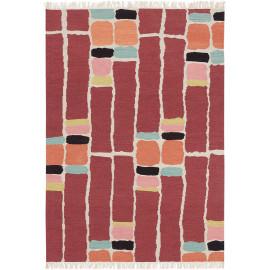 Tapis en laine moderne avec franges plat Kashba Stack