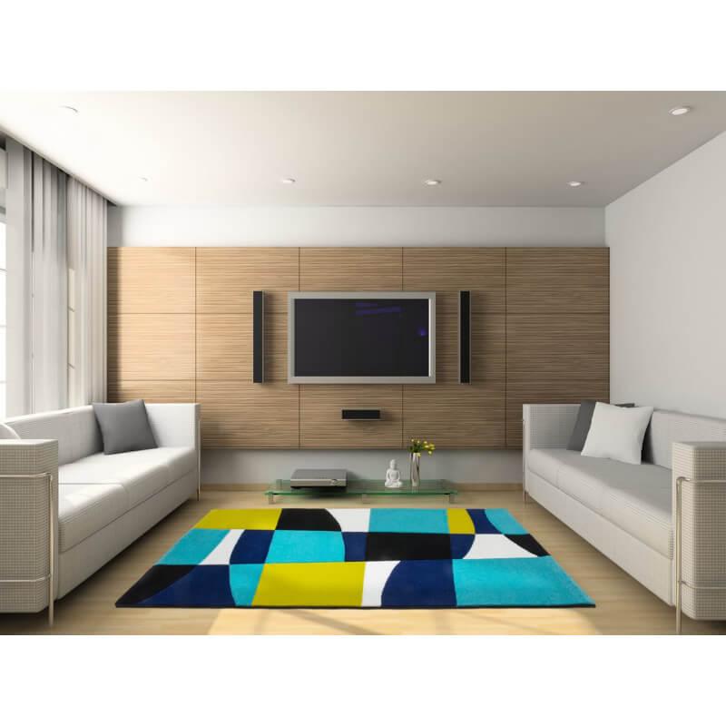 Ehrf rchtige tapis de salon design l 39 id e d 39 un tapis de bain Tapis noir et bleu