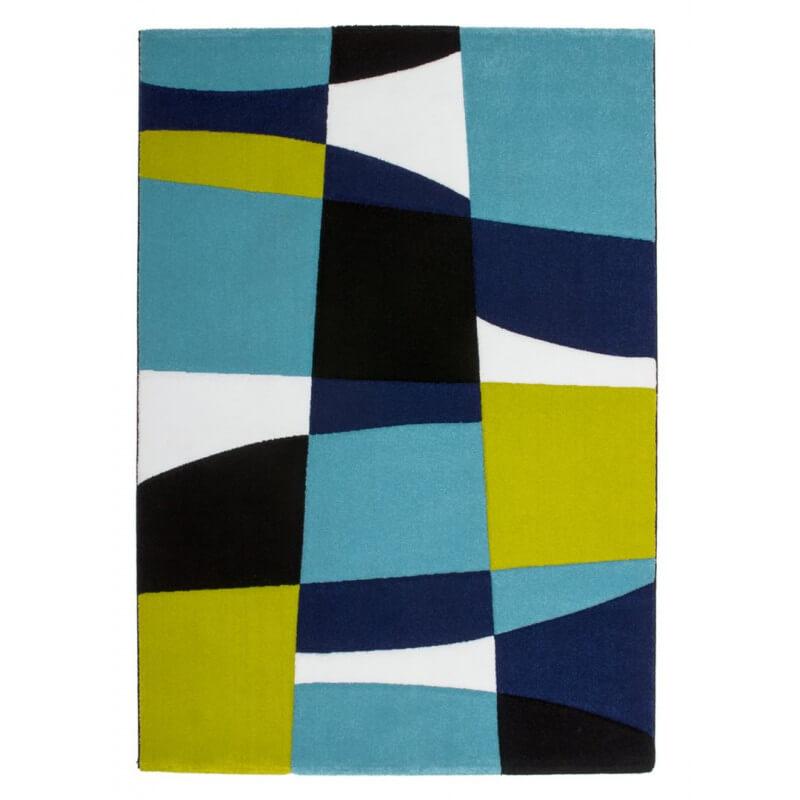 Tapis noir et bleu pour salon design cooper Tapis noir et bleu