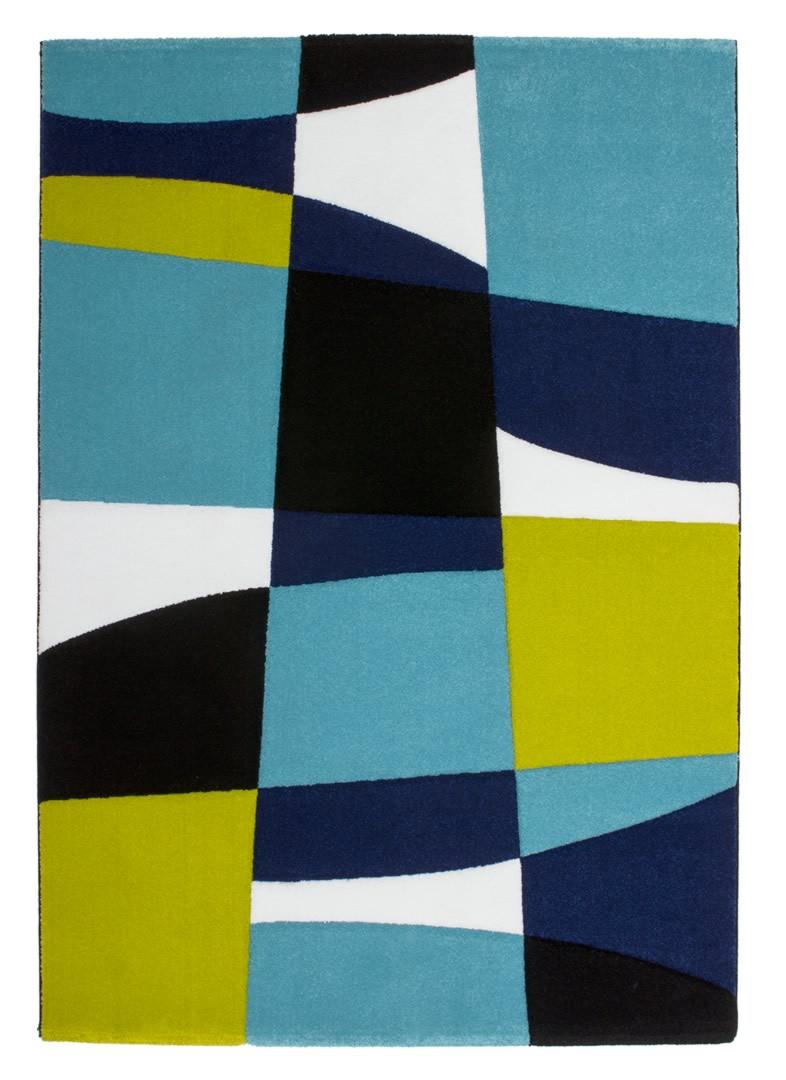 Tapis noir et bleu pour salon design Cooper