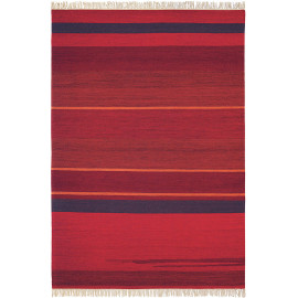 Tapis rouge rayé plat design avec franges laine Kashba Delight